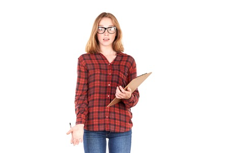 Portrait of pretty college girl holding clipboard and pencil