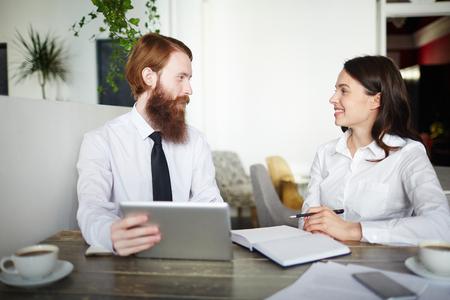 Negotiation of entrepreneurs Stock Photo