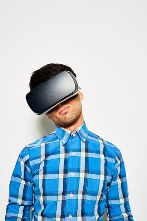 Talented Designer Using VR Goggles Stock Photo