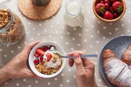 Enjoying Appetizing Breakfast