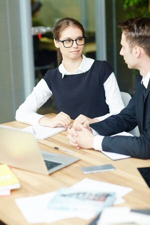 Conversation during interview Stock Photo