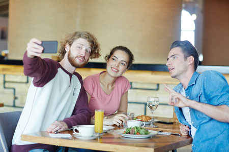 Selfie by lunch Stock Photo