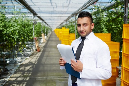 Carrying out Inspection at Greenhouse Фото со стока