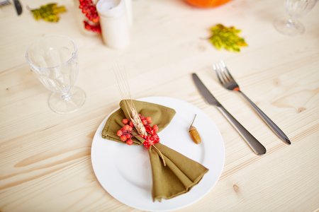 Plate with napkin Stock Photo