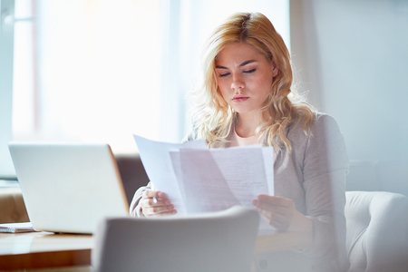 Woman with contracts