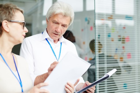 Analyzing Results of Field Interview Stock Photo