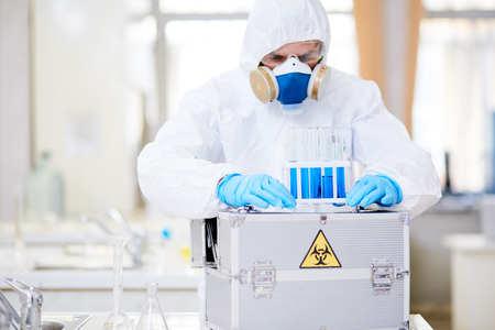 Examining Test Tubes at Laboratory Stock Photo