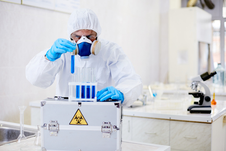 Virology Research Scientist Focused on Work Stock Photo