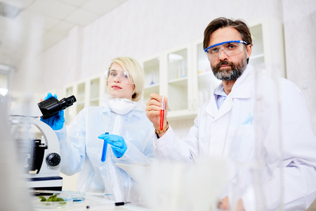 Team of Scientists Conducting Experiment Stock Photo