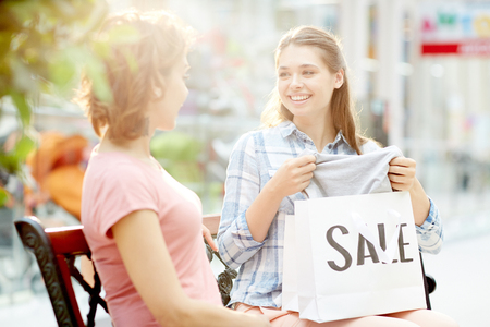 2 lady shopping Bragging with purchase Stock Photo
