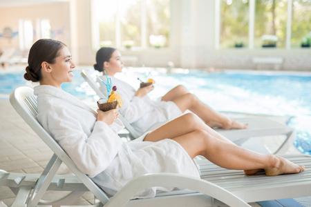 Girls at spa resort Stock Photo