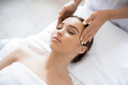 Spa massage head Stock Photo