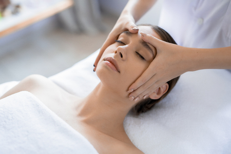 Beauty of face massage in spa