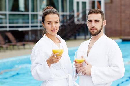 Travelers at spa resort