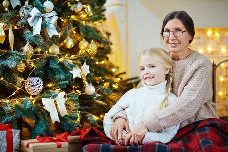 Embracing granddaughter