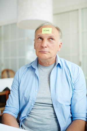 Man brainstorming Stock Photo