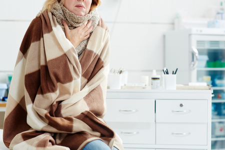 Woman with flu Stock Photo
