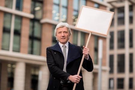 Man at demonstration 스톡 콘텐츠
