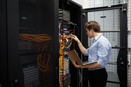 Working in data storage lab