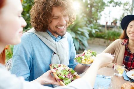 Sharing salad Stock Photo