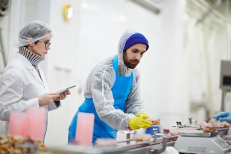 処理中の魚介類の重量と品質を統一チェックする管理スタッフ