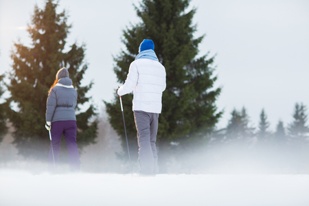 Rear view of two skiers moving straight along ski-line in the forest