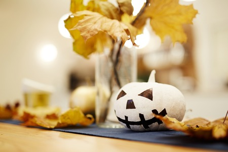 Close-up of table decorated for the Halloween holiday Stock Photo