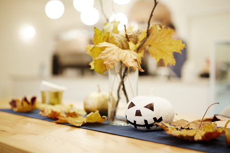 Traditional decoration to the Halloween holiday. Autumn table