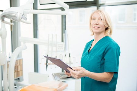 Calling for next patient Stock Photo