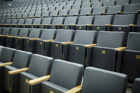 Several rows of numbered armchairs in auditorium or conference hall of contemporary institution