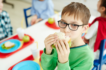 Little Caucasian boy in glasses eating sandwich while sitting at table with classmates at primary school cafeteria