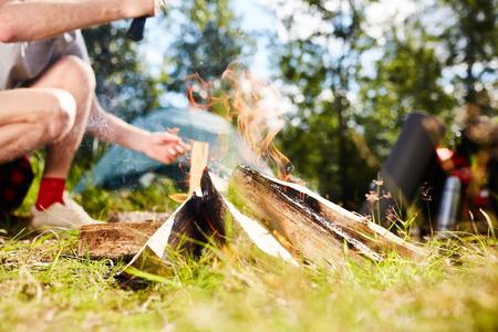 Campfire on grass