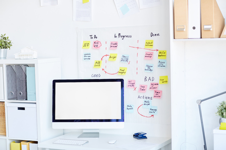 Image of workplace in modern office without people