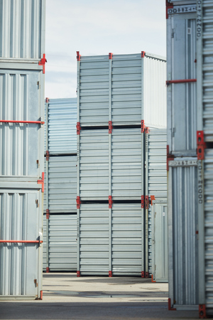 Stacks of new storage containers that can be used for storing cargo and other things or supplies