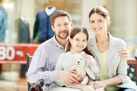 Family in trade center Stock Photo