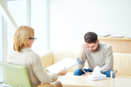 Upset man on visit to psychiatrist