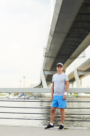 Sportsman on bridge