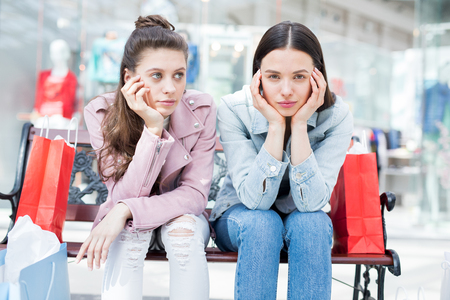 Girls after shopping Stock Photo
