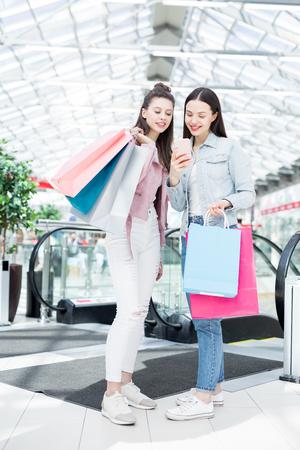Girls in shopping center