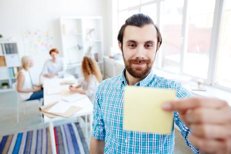 Sticking notepaper