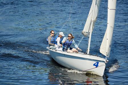 Free men at sailing trip