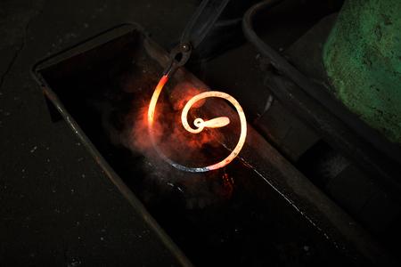 Hot workpiece in water