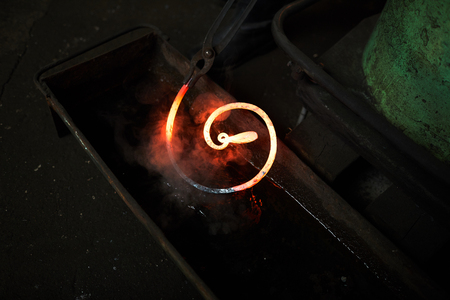 Hot workpiece in water