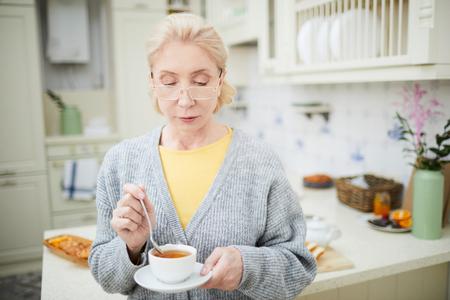 Having hot tea