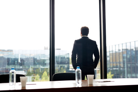 Contemplative businessman in formal suit holding hand in pockets and looking out panoramic window while waiting for conference in meeting room Stock fotó