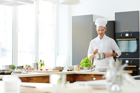 Successful chef preparing tasty food Reklamní fotografie - 105504256