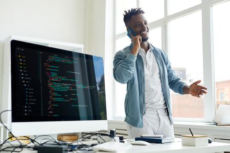 Successful freelance coder on phone