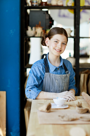 Girl in studio of crafts