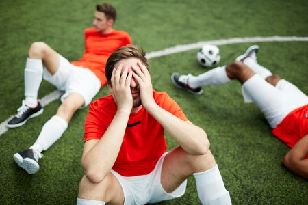 Unlucky soccer players Stock Photo