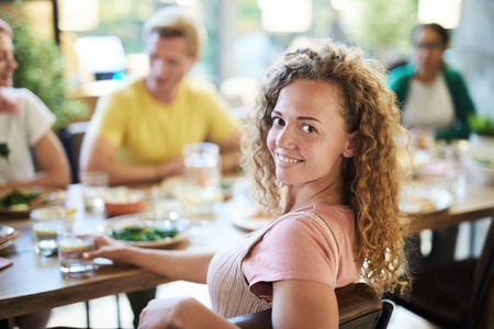 Woman by dinner Banco de Imagens